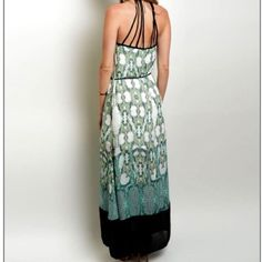 "Boho Maxi Dress High quality stunning Boho style maxi dress.  -detailed design  -all over pattern -fully lined  -approx 60"" length  -Tassel waist tie -racer back straps  -necklace neckline Dresses Maxi"