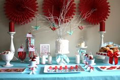 Below we see a dessert table by Mon Tresor, featuring a red, aqua and white color scheme. Description from flowers3011.weebly.com. I searched for this on bing.com/images