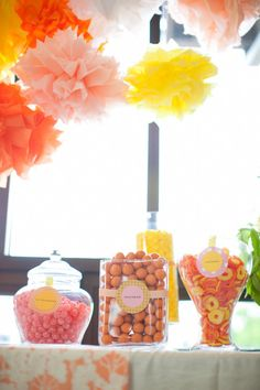 Pink, yellow, and peach candy buffet. Photography by heathercookelliott.com, Wedding Planning   Coordination by tailoredengagements.com