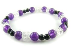 BA5915 Amethyst Clear Quartz Onyx Healing Natural Crystal Stretch Bracelet - See more at: http://waggashop.com/wagga-shop-ba5915-amethyst-clear-quartz-onyx-healing-natural-crystal-stretch-bracelet
