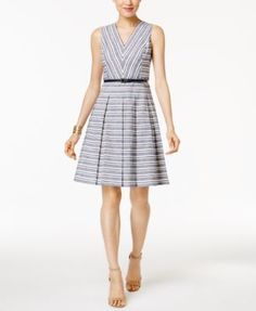 Tommy Hilfiger Belted Striped Fit & Flare Dress | macys.com