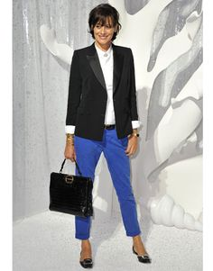 """Ines de la Fressange at Chanel Front Row. He loves the French Chic style for me. Note the structured bag, the jacket with white shirt and brighter pants for """"pop"""" of color, and the flat shoes."""