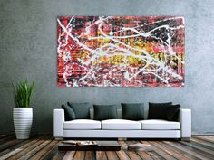 Abstraktes Acrylbild in rot schwarz gelb und weiß sehr modern 100x200cm von xxl-art.de