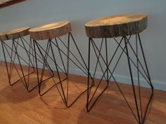 These beautiful Live Edge Cats Cradle Barstools are now gracing our kitchen bar. They were made by popcelona on Etsy