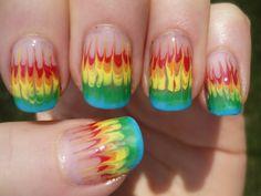 NO WATER Marble Rainbow Fire Nail Art Tutorial