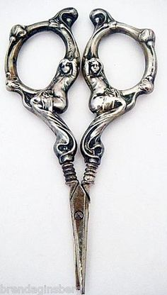 Antique Art Nouveau Sewing Desk Scissors Sterling Silver Figural Maidens