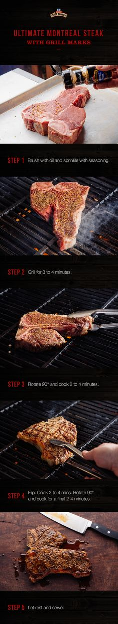 Montreal Steak Seasoning is the secret to steak with a bold, peppery bite and crisp crust. Impress your guests with a sizzling T-bone full of savory flavor and this easy cross-hatching technique for great grill marks. Braai Recipes, Beef Recipes, Cooking Recipes, Side Dishes For Bbq, Main Dishes, Apple Fritter Bread, Grillin And Chillin, Smoke Grill, Street Food