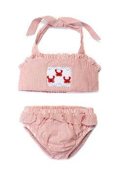 Smocked Swim Suit - Crab