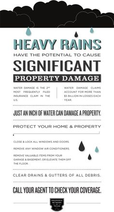 Protect your property from rain water damage during stormy weather. Protecting Your Home, Water Damage, Life Hacks, Rain, Weather, Tips, Rain Fall, Waterfall, Weather Crafts