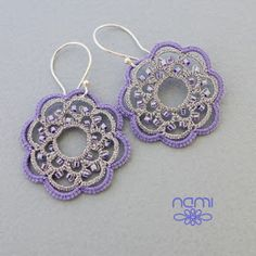 Handmade lace jewelry, patterns and tutorials for tatting Tatting Earrings, Tatting Jewelry, Lace Earrings, Lace Jewelry, Tatting Lace, Jewelery, Crochet Earrings, Tatty Teddy, Tatting Patterns
