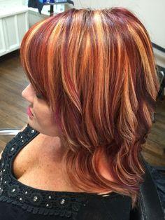Trendy hair color plum highlights red and purple Red Hair With Blonde Highlights, Red Blonde Hair, Red Hair Color, Ombre Hair, Plum Highlights, Corte Y Color, Copper Hair, Auburn Hair, Fall Hair