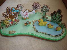 velikonoce Farm Cookies, Cute Cookies, Easter Cookies, Easter Treats, Easter Deserts, Butterfly Cookies, Creative Food Art, Cookie House, Cookie Designs