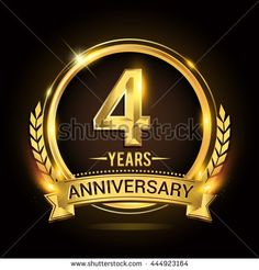 Celebrating 4 Years Anniversary Logo With Golden Ring And Ribbon Laurel Wreath Vector Design