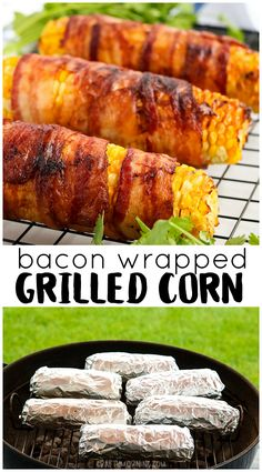 Bacon Wrapped Grilled Corn…the best smoky flavor on the grill! Corn on the cob recipe. Grilled Side Dishes, Side Dishes For Bbq, Vegetable Side Dishes, Side Dish Recipes, Sides For Grilled Chicken, Bbq Recipes Sides, Burger Side Dishes, Bacon Recipes, Cooking Recipes