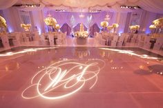 Winter Wonderland Wedding, Technically a white wedding but I love the lighting and the special monogram.