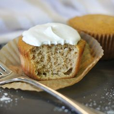 Paleo Vanilla Cupcakes -- Made with coconut flour, baking soda, salt, zucchini, maple syrup, vanilla extract, and eggs.