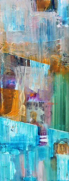 """Original one of a kind hand painted mixed media painting. Multiple blended layers on 16x 40x 1.5"""" gallery wrapped canvas. Painting is finished..."""