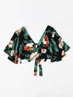 Shoulder(cm) Bust (cm) Cuff(cm) Length(cm) Sleeve Length(cm) XS S M L XL XXL One Size 35 80 35 24 2018 Plunging V-neckline Floral Print Random Knot Crop Top Summer Short Sleeve Vacation Woman Blouse Ruffle Blouse Teen Fashion Outfits, Cute Fashion, Girl Fashion, Casual Outfits, Cute Outfits, Fashion Design, Ladies Fashion, Womens Fashion, Crop Top Outfits