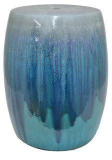 Sabrine Garden Stool, Blue Drip $110