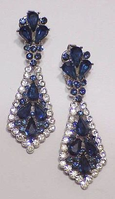 Trifari crown sapphire & clear rhinestone long earrings