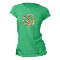 Peace Flowers - Womens Tee - Peace/Love/Green - Women
