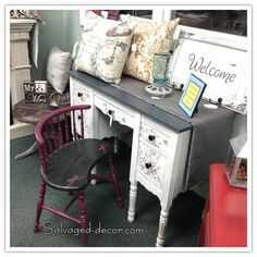 Adorable white and grey desk with raised stencil. www.facebook.com/salvageddecor