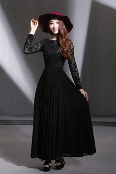 Black Dresses with Sleeves Modest