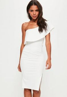 White One Shoulder Frill Split Midi Dress
