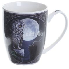 This mug is brought to you by the untamable imagination of Lisa Parker. It has her famous Purrfect Wisdom design that depicts a wise owl looking down on a black Cat. Lisa Parker, Dragon Design, Wise Owl, Cat Mug, China Mugs, Fantasy, Presentation Design, Bone China, Drinkware