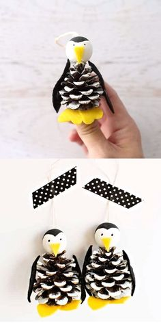 This Pine Cone Penguin Ornament is an easy and cute Christmas craft for kids. Watch our video and get the simple tutorial to make them. Cute holiday pinecrone craft to make with kids! Penguin Ornaments, Christmas Ornament Crafts, Xmas Crafts, Christmas Fun, Felt Crafts, Kids Christmas Crafts, Christmas Decorations Diy For Kids, Kids Ornament, Handmade Christmas Crafts