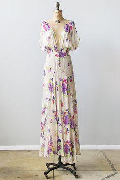 vintage 1930s sheer floral silk crepe de chine maxi dress