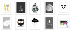 roomobaby blog: 10 Lovely Black + White Free Printable Posters for a Modern Baby Room