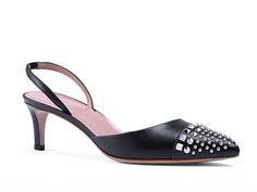Gucci studded black leather mid-heel slingback pump - Italian Boutique €364
