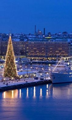 Sweden, Europe - Stockholm Christmas Tree and ship Visit Stockholm, Stockholm City, Most Beautiful Cities, Beautiful World, Visit Sweden, Sweden Europe, Noel Christmas, Sweden Christmas, Waterfalls
