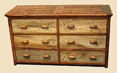 Rustic Dressers of Barnwood with Stone Tile Tops and Immigrant Distressed in custom colors
