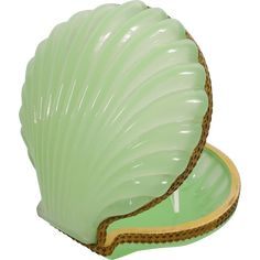 Antique French Green Opaline Shell Shape Hinged Box