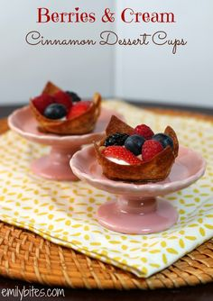Emily Bites - Weight Watchers Friendly Recipes: Berries & Cream Cinnamon Dessert Cups