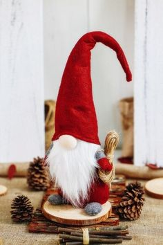 Christmas Santa Figure Swedish Gnome Tomte Nisse Sockerbit Elf Dwarf Hand Made #HighlandFarm