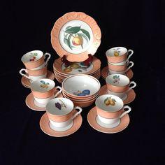 Perfect Vintage Mottahedeh Summer Fruits Tea Service for 8 - Elegant Entertaining - Mother's Day/Bridal Shower/Engagement/Housewarming Gift