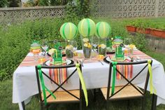Hostess with the Mostess® - Bright Summer Stripes Tablescape