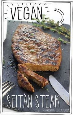 Vegan Seitan Steak Yes it s vegan Mouth-watering tender chewy juicy flavourful meat-like texture Amazing BBQ or pan fry then serve whole or slice and put on top of salad for a steak salad So delicious and satisfying Vegan Foods, Vegan Dishes, Vegan Vegetarian, Vegetarian Recipes, Healthy Recipes, Vegan Chicken Recipes, Vegan Meals, Grilled Vegan Recipes, Easy Vegan Recipes