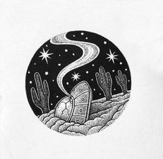 UFO Alien Art crash in desert Dark Art Drawings, Ink Pen Drawings, Sketchbook Drawings, Cool Drawings, Art Sketches, Aesthetic Drawing, Aesthetic Art, Ufo Tattoo, Tattoos