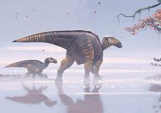 Iguanodon by Simon Stålenhag Prehistoric Wildlife, Prehistoric Creatures, Dinosaur Drawing, Dinosaur Art, Dinosaur Pictures, Jurassic Park World, Extinct Animals, Prehistory, Creature Design