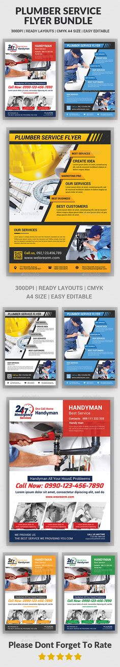 Plumber Service Flyers Design Template Bundle - Corporate Flyer Template PSD. Download here: https://graphicriver.net/item/plumber-service-flyers-bundle/17681695?ref=yinkira