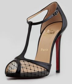 Christian Louboutin Black Lagoula Tstrap Fishnet Red Sole Pump