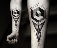 A tatuagem com formas geométricas rendem desenhos bem intrigantes (Foto: Ilustração)