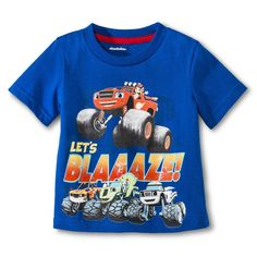 Blaze and the Monster Machines Toddler Boys' Let's Blaaaze! Blaze And The Monster Machines Party, Blaze The Monster Machine, Monster Truck Party, Square Pants, Kid Character, Discount Clothing, Mom Shirts, Toddler Boys, Little Boys
