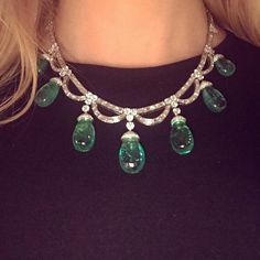 An incredible emerald and diamond necklace by Bulgari, 1950s #sothebysjewels #genevajewels #bulgari