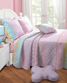 Greenland Home Polka Dot Stripe Quilt Set, Twin -  Buy New: $49.88: Brighten your kids' room with the Polka Dot Stripe quilt set. Butterflies and polka dots enliven this quilt which features fun stripes in pastel colors. #GraffitiLensMarketing