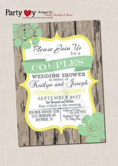 Couple's Wedding Shower Invitation, Rustic, Wood, Co-ed Wedding Shower, Mint Green, Green, Yellow, DIY, Typography, Digital File http://www.vintagevinylcds.com/